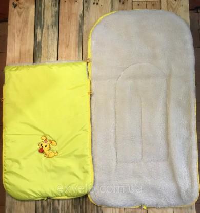 Конверт в санки, коляски овчина желтый