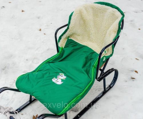 Конверт в санки, коляски овчина серый
